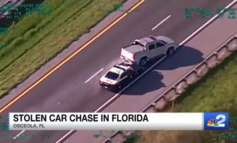 Dramatic end to stolen car chase caught on camera