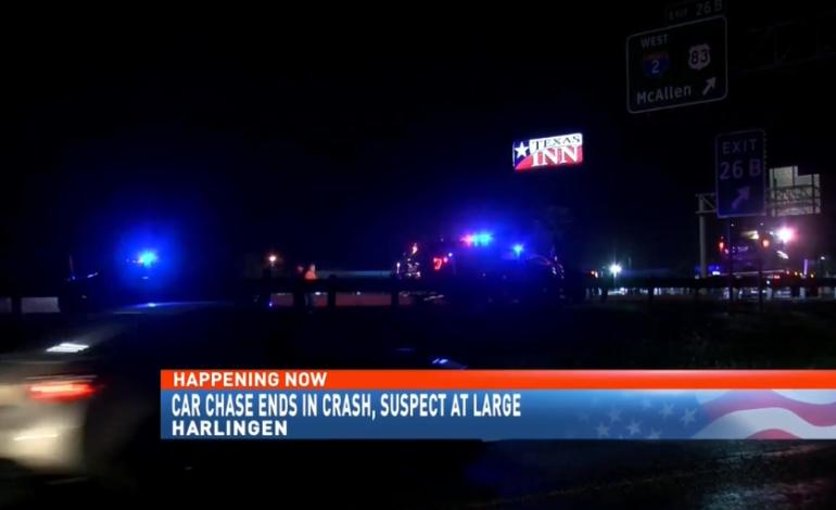 Car chase ends in car crash in Harlingen